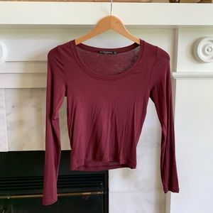 Brandy Melville Cropped Maroon Long Sleeve, 1 Size